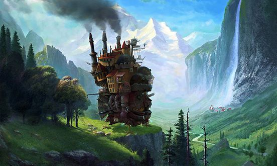 Howls Moving Castle at Staubbach Falls Switzerland